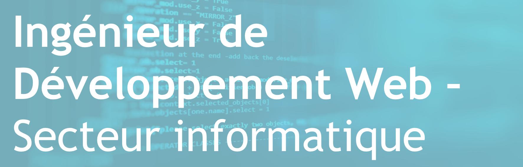 Ingénieur de Développement Web – Secteur de l'informatique – FR/EN