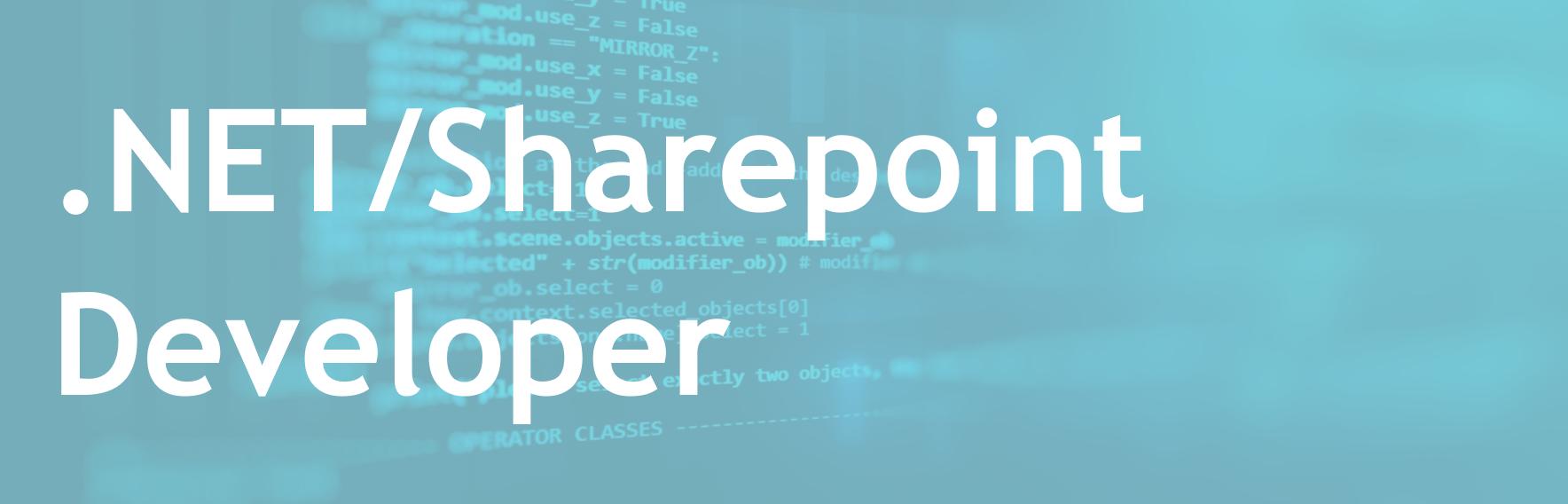 .NET/Sharepoint Developer – Banking sector – EN/FR