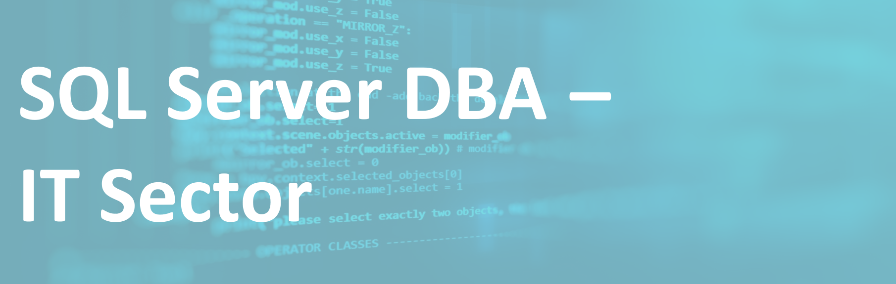 SQL Server DBA – IT Sector – FR/EN